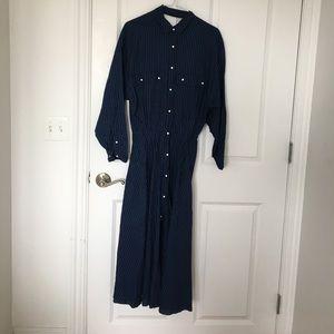 Zara Trafaluc Denim Midi Striped Shirtdress